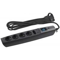 ЭРА Сет. фильтр SFU-5es-2m-B надеж. защита, с/з, с выкл, 5гн+2USB, 2м,, 10А, шторки,черный (20/240)