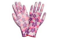 Перчатки садовый нейлон/PU розовые цветы р-р 7