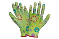 Перчатки садовые нейлон/нитрил зеленые цветы р-р 7