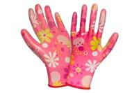 Перчатки садовые нейлон/нитрил розовые цветы р-р 7