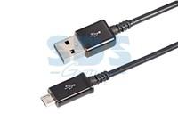 USB кабель microUSB длинный штекер 1М черный, без индивидуальной упаковки