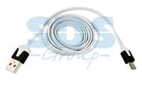 USB кабель универсальный microUSB шнур плоский 1М белый