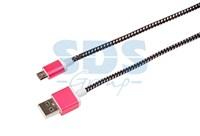 USB кабель microUSB, шнур в тканевой оплетке, черный (усиленный) REXANT