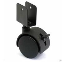 Колесо мебельное поворотное под ДСП 50мм с тормозом, черное 6003050Д
