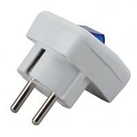 Vx5-W ЭРА Вилка с/з с выключателем 16A белая (24/384/3072)