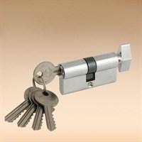 Сердцевина замка (цилиндровый механизм) 60мм (30*30), алюминий/латунь, ключ-верт., 5 ключей, хром