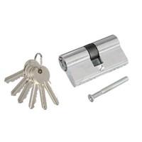 Сердцевина замка (цилиндровый механизм) 60мм (30*30), алюминий/латунь, кл-кл., 6 ключей, хром