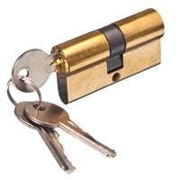 Сердцевина замка (цилиндровый механизм) 60мм (30*30), алюминий/цинк, кл-кл., 3 ключа, золото