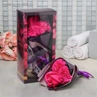Букетик из мыльных цветов (мыло, пластик) розовый/сиреневый