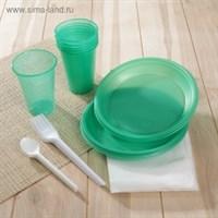 """Набор однораз.посуды """"Премиум чайный"""" 6 персон (6 цвет.стаканов 0,2л, 6 цвет.тарелок, 6 чайных ложек, 6 вилок)"""