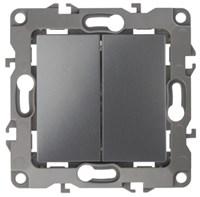 Переключатель двойной, 10АХ-250В, Эра12, графит 12-1106-12